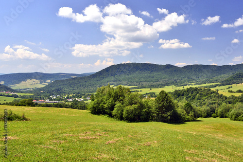 Poster Blauwe hemel Summer mountain landscape with green field against a blue sky with clouds