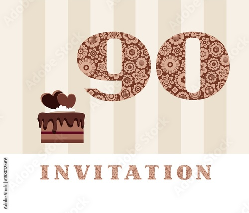 Invitation Color 90 Years Old Chocolate Cake Heart Shaped Vector The To Birthday Party Card With Hearts