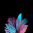 canvas print picture - Tropical and palm leaves in vibrant bold gradient holographic neon  colors. Concept art. Minimal surrealism background.