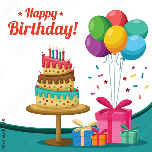 Terrific Birthday Cake Presents Balloons Background Buy This Stock Funny Birthday Cards Online Sheoxdamsfinfo