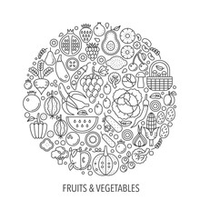 Fruits Vegetables Food In Circ...