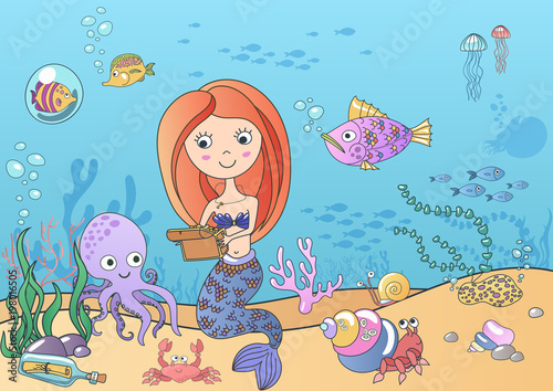 Wall Murals Mermaid Vector Beautiful cute little siren mermaid with treasure swimming underwater with fishes and octopus. Hand drawn illustration.