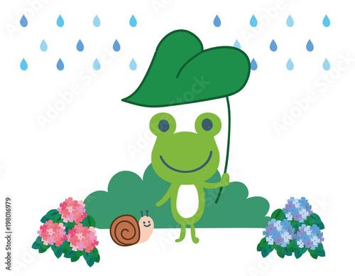 カエルとかたつむりと雨のイラスト素材 Fototapet