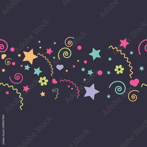 vector seamless children's funny colorful different elements of a star, flowers, hearts