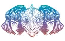 Reptilian Space Alien Face In ...