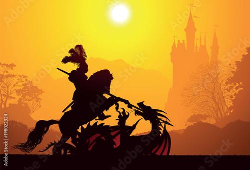Medieval knight and dragon Fototapeta
