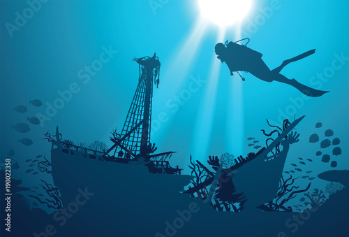 Fotomural Silhouette scuba diver and shipwreck on the background