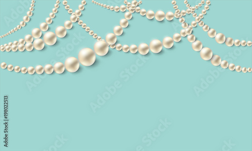 Fotografia, Obraz Realistic pearl necklaces over turquoise background. Vector