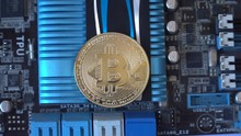 Cryptocurrency Mining Concept With Bitcoins On Graphic Videocard
