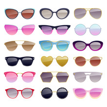 Set Of Colorful Sunglasses Ico...