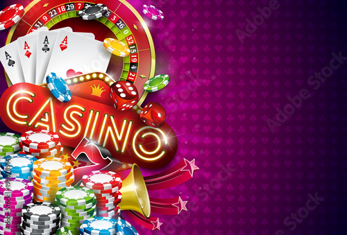 Casino Illustration with roulette wheel and playing chips on violet background плакат