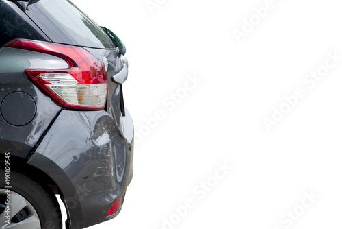 Fotografie, Obraz  Car accident isolated on white background