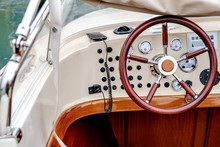 Control Panel And Helm On Motor Boat