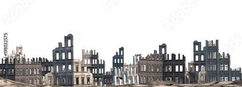Ruined Buildings Isolated On White 3D Illustration Fotobehang
