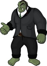 Funny Art With Orc Businessman...