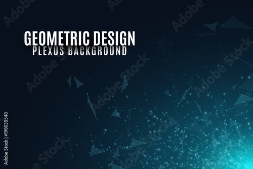 Fotobehang Volle maan Abstract background of flying geometric particles on a dark background. Connected triangles and luminous dust. Scientific background for your design. Vector illustration