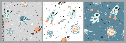 Seamless childish pattern set with hand drawn space elements space, satellite, planet, rocket, stars, space probe, constellations, meteorite, astronaut. Kids flat green, white, grey vector backgrounds