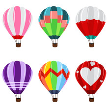 Colorful Hot Air Balloons With Basket Icons Set. Vector Flat Cartoon Illustration Of A Flying Transport Isolated On White Background.