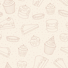 Vector Pastry Seamless Pattern With Cakes, Pies, Muffins And Eclairs Outline. Hand Drawn Sweet Bakery Products In Sketchy Style On The Dotted Background.