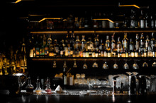 Blurred Background Of Dark Bar...