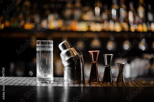 Barman essentials on a blurred background of bar