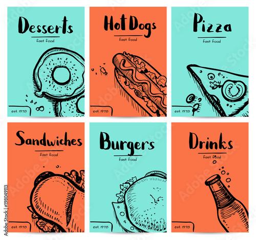 Fast food vintage hand drawn graphic design set Poster