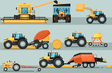 Modern Agricultural Vehicle Isolated Set. Agriculture Tractor Hay Baler, Combine Harvester, Seeding Machine, Plowing Equipment Vector Illustration. Rural Industrial Farm Machinery, Comercial Transport