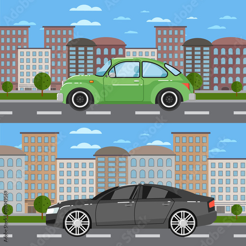 Foto op Aluminium Pixel Vintage car and comfortable sedan in cityscape. City street road traffic vector illustration, urban landscape background with skyscrapers. Modern family automobile, people transportation, auto vehicle