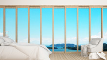 Bedroom And Living Area Wiht Sea View In Hotel Or Resort - Bedroom Take View For Artwork Holiday- Blur Background - 3D Rendering