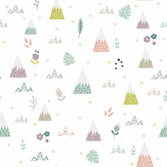 Panel Szklany Góry Cute mountains, plants and flower landscape seamless pattern. Cartoon background for kids. Vector illustration