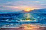 Obraz olejny morza na płótnie. - 198054135