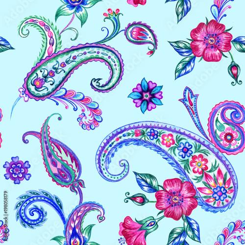 Cuadros en Lienzo Seamless pattern of paisley, watercolor picture in oriental style