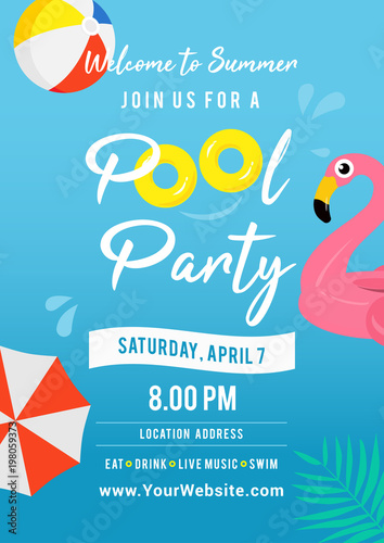 pool party invitation vector illustration swimming pool with pool
