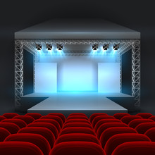 Empty Theatre Stage With Spotl...