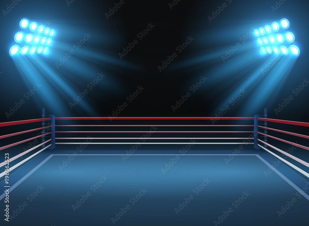 Fototapeta Empty wrestling sport arena. Boxing ring dramatic sports vector background