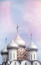 Domes Of A Religious Building. Crosses On The Domes Of The Churc