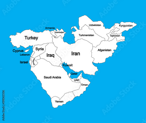Editable blank vector map of Middle East, isolated on background