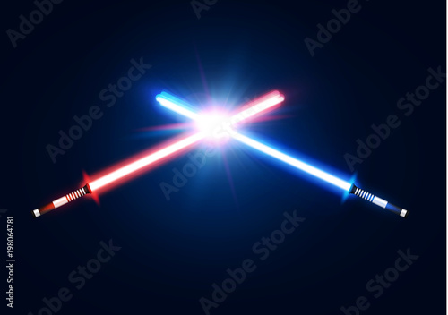Red and blue crossed light neon swords with trembling blade fight Canvas Print