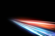 Vector Illustration Of High Speed Light Effect On Black Background. Movie Effect, Motion, Night Lights.