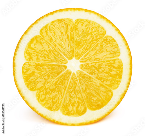 Perfectly retouched sliced half of lemon fruit isolated on the white background with clipping path. One of the best isolated lemons slices that you have seen.
