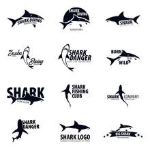 Set Emblems Or Logos With Shar...