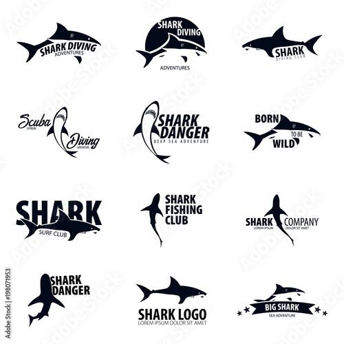Set Emblems or logos with Shark. Vector illustration Wallpaper Mural