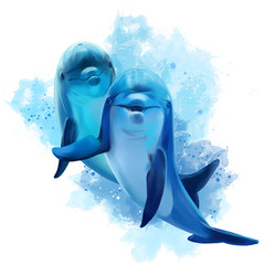 Fototapeta Delfin Two blue Dolphins watercolor illustration