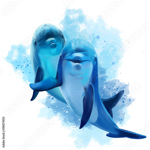 Obraz na plátne Two blue Dolphins watercolor illustration
