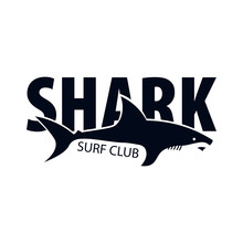 Surf Club. Emblem Or Logo With Shark. Vector Illustration