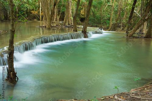 Fototapety, obrazy: Huay Mae Khamin waterfalls in deep forest at Srinakarin National Park ,Kanchanaburi ,A beautiful stream water famous rainforest waterfall in Thailand