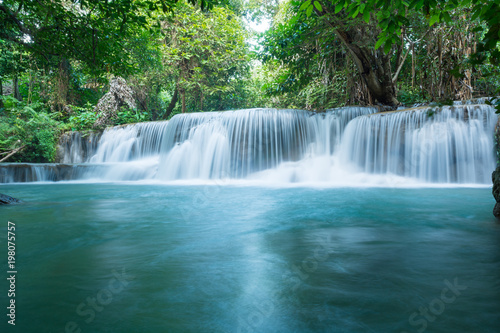 Huay Mae Khamin waterfalls in deep forest at Srinakarin National Park ,Kanchanaburi ,A beautiful stream water famous rainforest waterfall in Thailand