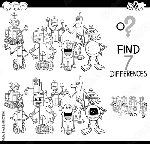 Fotografie, Obraz  differences game with robot characters color book
