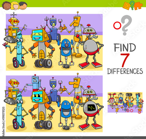 Fotografie, Obraz  find differences game with robot characters