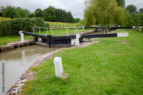 Canvas Seend Top Lock on Kennet and Avon Canal South West England UK
